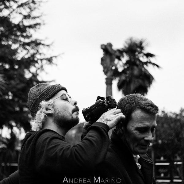 Director de fotografía y actor principal rodando