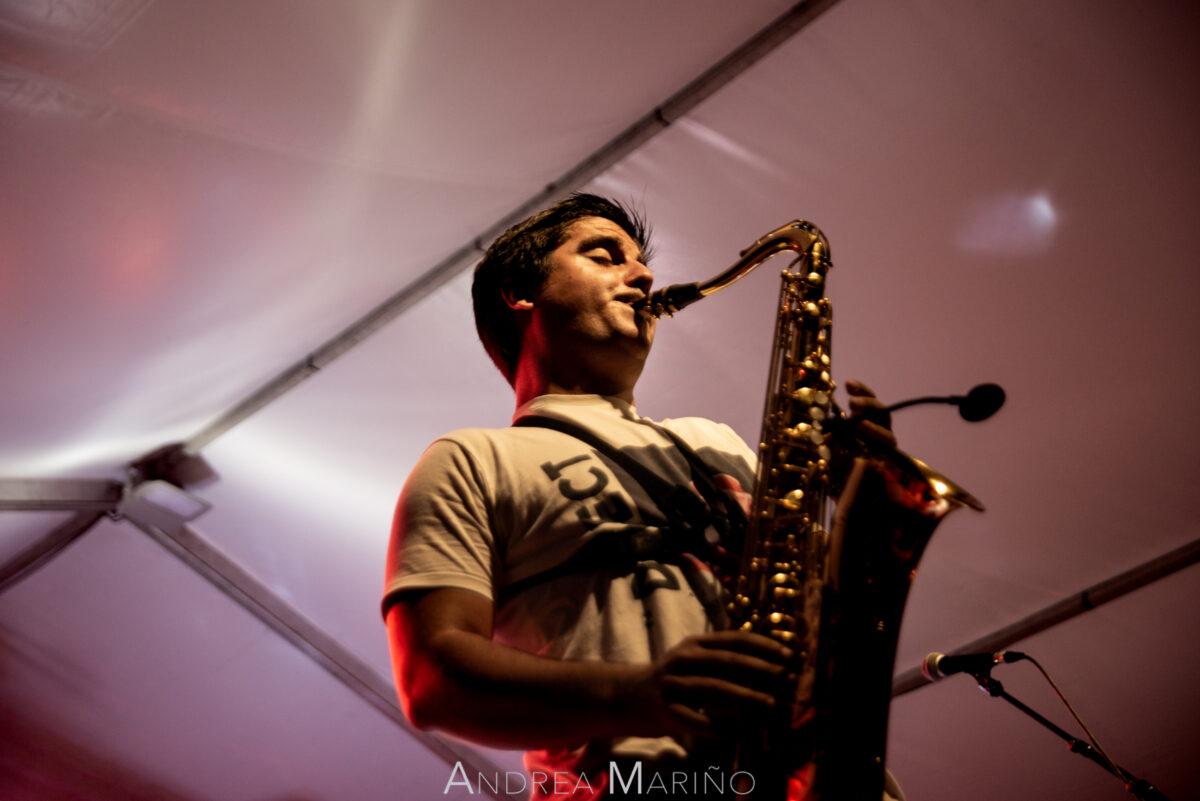 Saxofonista envuelto en luz rosa